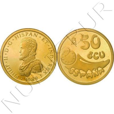 50 ecu SPAIN 1989 - GOLD