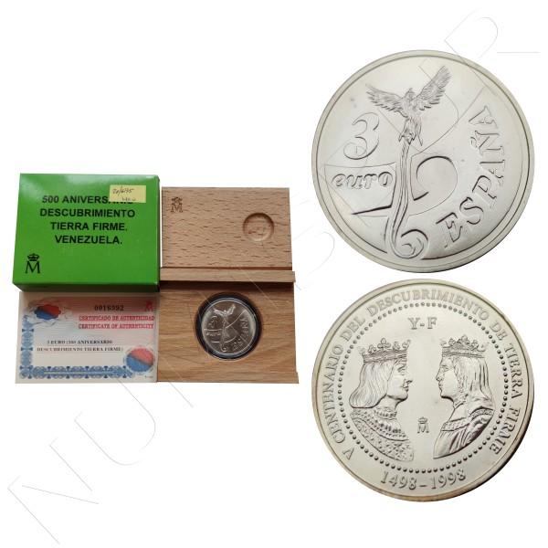 3€ SPAIN 1998 - 500 aniv. discovery firm ground Venezuela