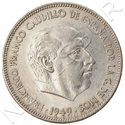 5 pesetas SPAIN 1949 - Franco *50*