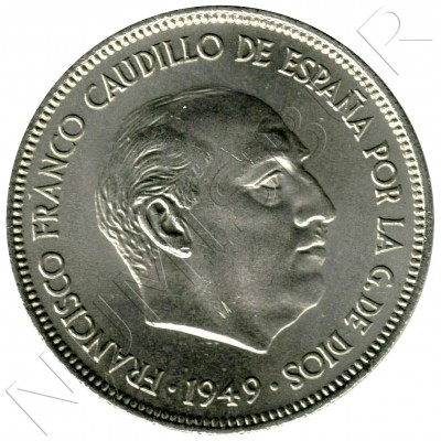 5 pesetas SPAIN 1949 - FRANCO *19* *49*