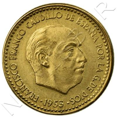 1 peseta SPAIN 1953 - Franco *56*