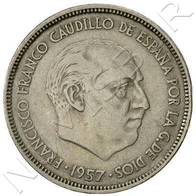 25 pesetas SPAIN 1957 -  *65* UNC
