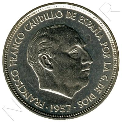 50 pesetas SPAIN 1957 - FRANCO *72* PROOF