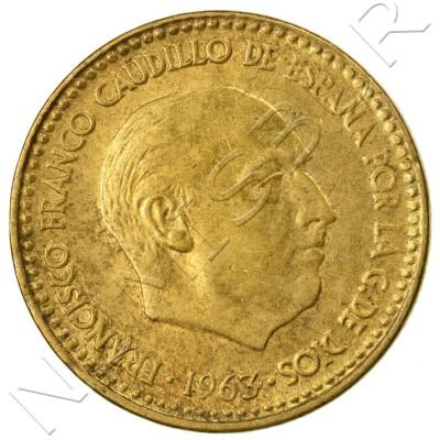 1 peseta SPAIN 1963 - Franco *65*