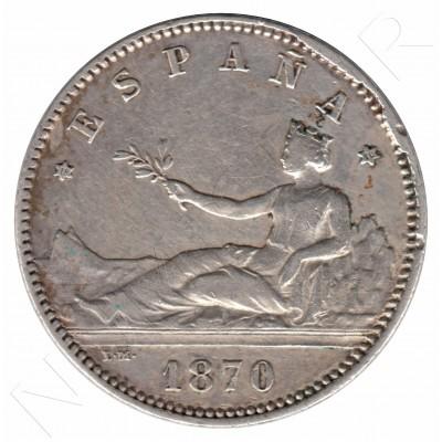 1 peseta ESPAÑA 1870 - estrellas  *70*