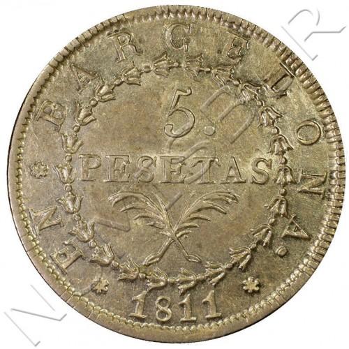 5 pesetas ESPAÑA 1811 - Barcelona MS62