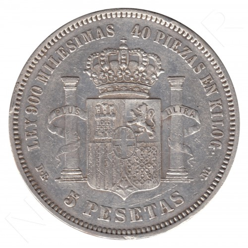 5 pesetas ESPAÑA 1871 - Amadeo I *19* *73*