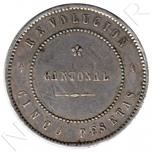 5 pesetas SPAIN 1873 - Cantonal Revolution CARTAGENA #1
