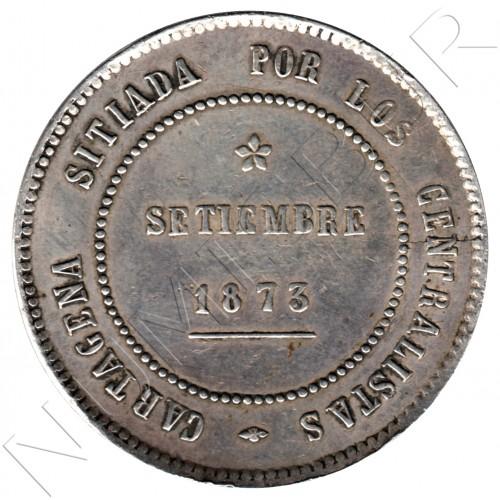 5 pesetas ESPAÑA 1873 - Revolucion Cantonal CARTAGENA #1