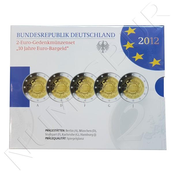 2€ ALEMANIA 2012 - 10º aniv. EURO (SET 5 CECAS)