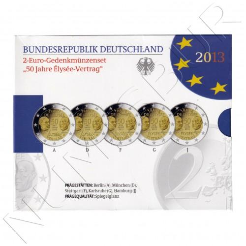 2€ GERMANY 2013 - Trate of Elysee (ADFGJ)