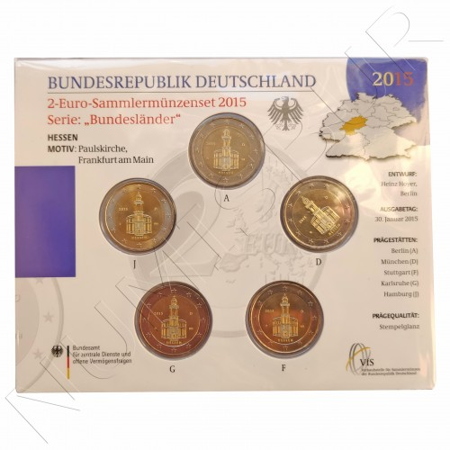 2€ GERMANY 2015 - Hessen (A D F G J)