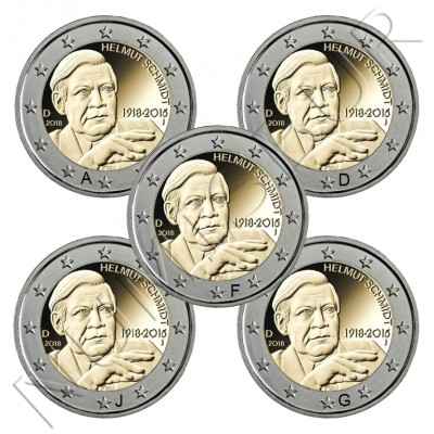 2€ GERMANY 2018 - Centenary of the Birth of Helmut Schmidt  (A,D,F,J,G)