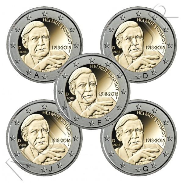 2€ ALEMANIA  2018 - Centenario del Nacimiento de Helmut Schmidt (A,D,F,J,G)