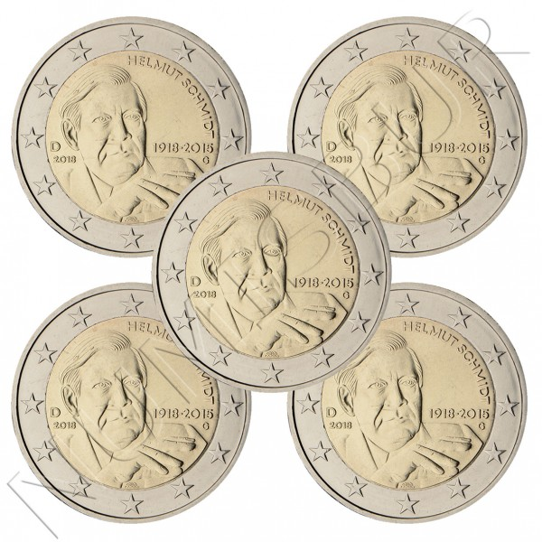 2€ GERMANY 2018 - Helmut Schmidt (A D F G J)