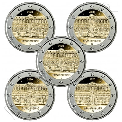 "2€ GERMANY 2020 - Brandenburg ""Sanssouci Palace"" ADFGJ"