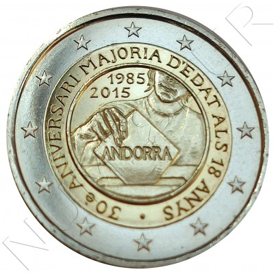 2€ ANDORRA 2015 - 30 aniv. Recognition of age (SIN BLISTER)
