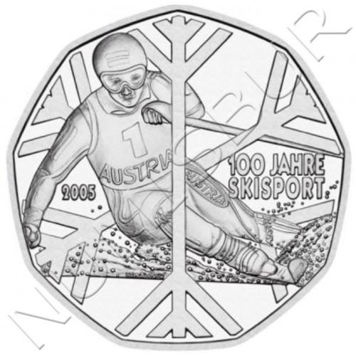 5€ AUSTRIA 2005 - 100th Anniversary of Sport Skiing