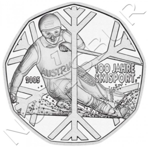 5€ AUSTRIA 2005 - 100th Anniversary of Sport Skiing