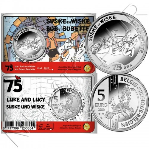 "5€ BELGIUM 2020 - 75 Years Suske In Wiske (Luke and Lucy)"""