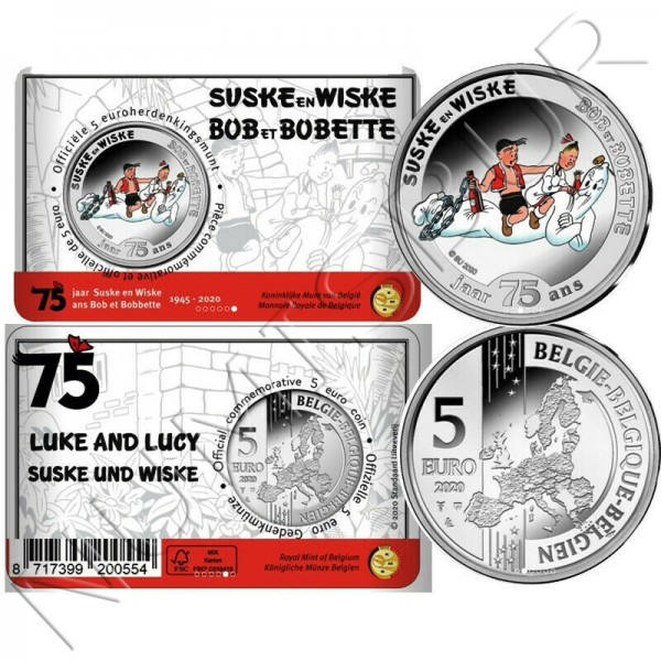 5€ BELGIUM 2020 - 75 Years Suske In Wiske (Luke and Lucy)""