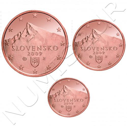 1, 2 y 5 cents SLOVAKIA 2009 - S/C