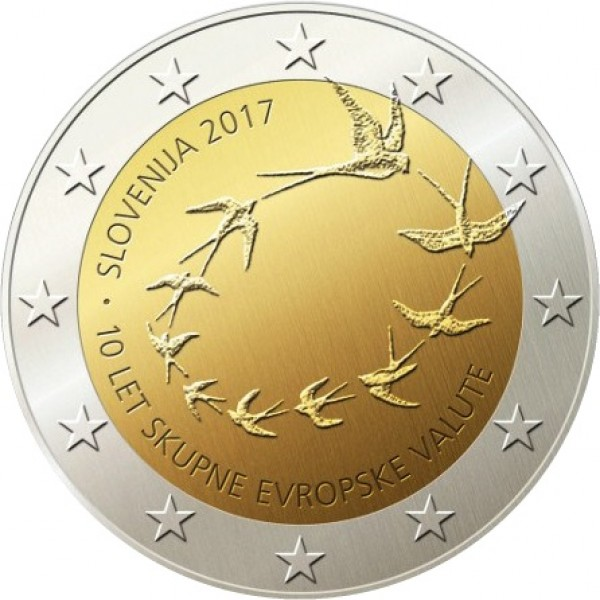 2€ ESLOVENIA 2017 - 10 aniv. Entrada al Euro