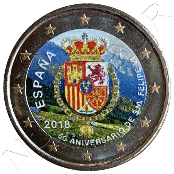 2€ SPAIN 2018 - 50th anniversary Don Felipe VI (COLORED)