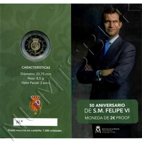 2€ SPAIN 2018 - 50th anniversary Don Felipe VI (PROOF)