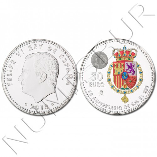 30€ ESPAÑA 2018 - 50 aniversario rey Don Felipe VI