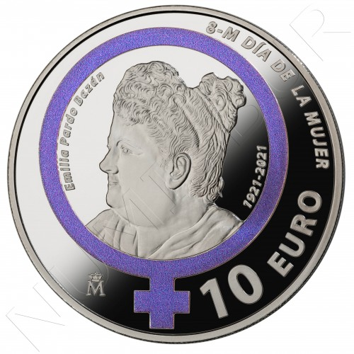 "10€ SPAIN 2021 - March 8 Women's Day ""Emilia Pardo Bazan"""