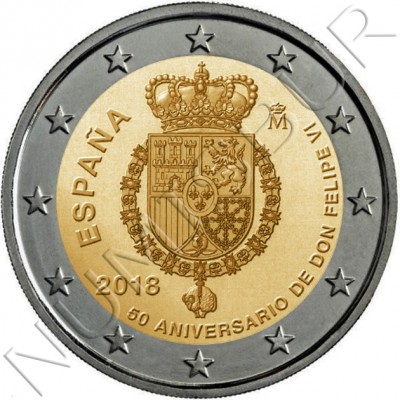 2€ SPAIN 2018 - 50th anniversary Don Felipe VI