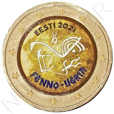 2€ ESTONIA 2021 - Finno-Ugric peoples (COLORED)