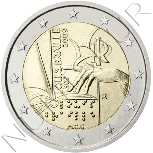 2€ ITALY 2009 - 2nd centenary of the birth of Luis Braile