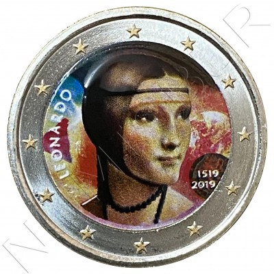 2€ ITALY 2019 - Leonardo da Vinci (COLORED)