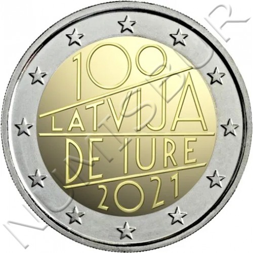 2€ LETONIA 2021 - The Latvia de iure 100