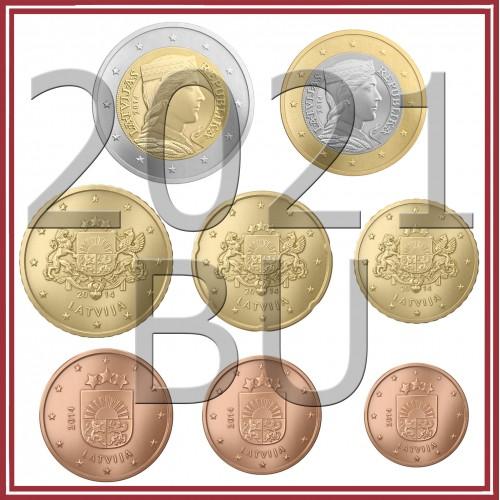 Tira LATVIA 2021 - 8 coins (BU)