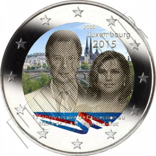 2€ LUXEMBURGO 2015 - 15 años ascensión al Trono (COLOR)
