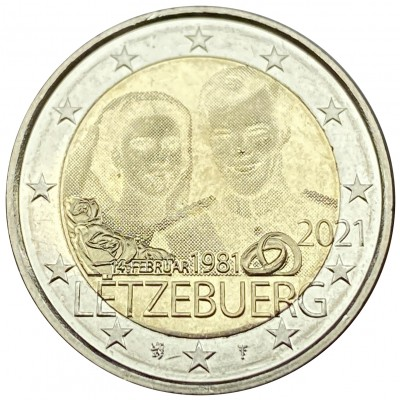 2€ LUXEMBURG 2021 - 40th aniv. of the birth of Duke Guillermo and marriage Grand Duke Enrique and Duchess Maria Teresa (Gofrada)