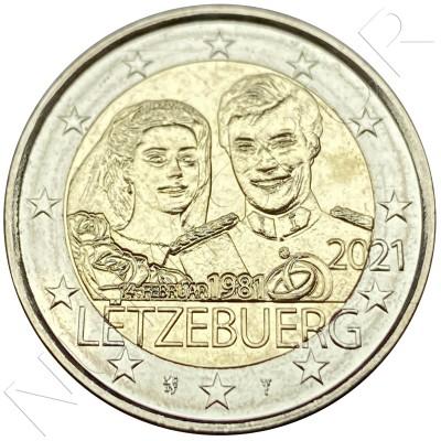 2€ LUXEMBURG 2021 - 40 aniv. del nacimiento del Duque Guillermo y matrimonio gran Duque Enrique y la duquesa Maria Teresa (Normal)
