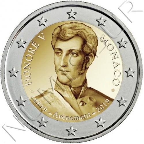 2€ MONACO 2019 - 200º aniv. llegada al trono del príncipe Honorato V