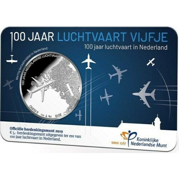 5€ NETHERLANDS 2019 - 100 years of aviation in the Netherlands