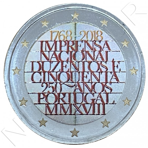 2€ PORTUGAL 2018 - 250 Years of the National Printing Office (COLORED)