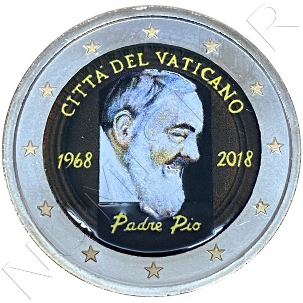 2 € VATICAN 2018 - 50 years. death father pio (COLORED)