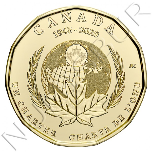 1$ CANADA 2020 - 75th Anniversary of the Signing Of The United Nations Charter