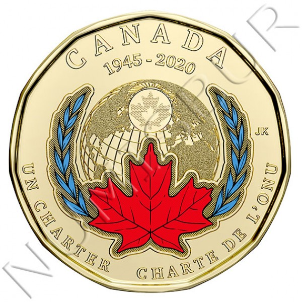 1$ CANADA 2020 - 75th Anniversary of the Signing Of The United Nations Charter (COLOR)