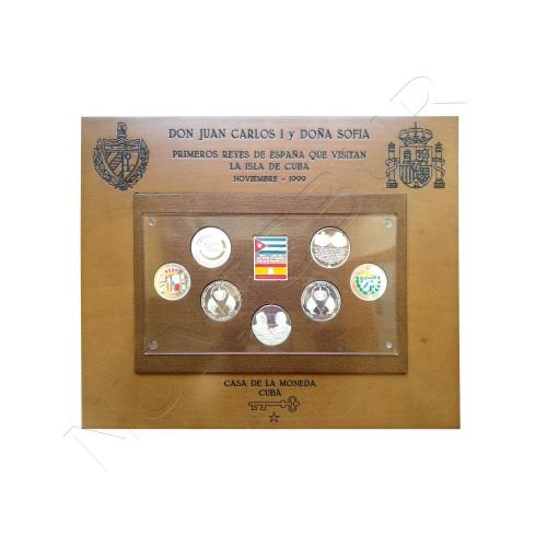 Cuadro monedas plata Visita de los Reyes de España a la Isla del caribe 1999