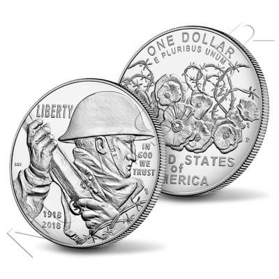 1$ USA 2018 - World War I Centennial P