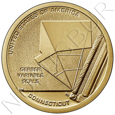 """1$ USA 2020 - Gerber Variable Scale """"Connecticut"""""""