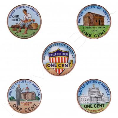 1 centavo EEUU 2009 - Vida de Lincoln + Escudo (COLOR)
